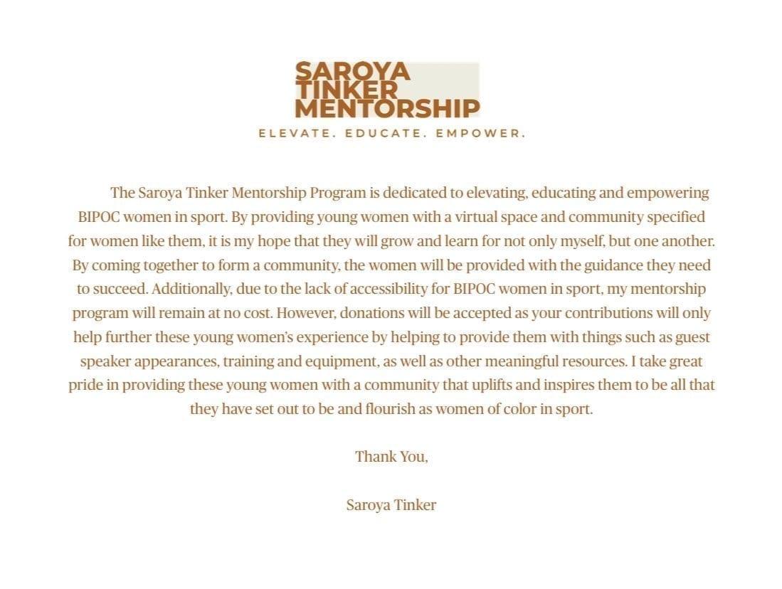 Saroya Tinker Mentorship